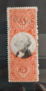 1872 $5 U.S Revenue Third Issue Stamp  #R148 Used Hinged