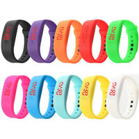 Womens Mens Rubber LED Movement Watch Date Sports Bracelet Digital Wrist Watches