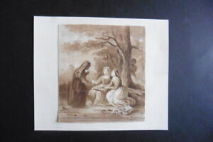 FRENCH SCHOOL CA. 1830 - THE FORTUNE TELLER - GENRE DRAWING - INK