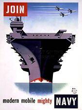 ART PRINT POSTER propagande WWII guerre mobiliser NAVY Porte-Avions nofl1012