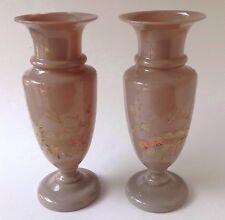 2 Victorian Bristol Glass Vases Clambroth Fireglow Hand Blown Enamel Bird Flower