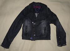 Blouson veste courte zippée en jean denim noir Gaialuna fille taille 34 XS - BE