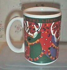 Christmas Coffee Mug Reindeer With Lights In Their Antlers Bright Colors