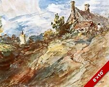 COTTAGE ON A HILL ENGLISH COUNTRYSIDE LANDSCAPE ART PAINTING REAL CANVAS PRINT