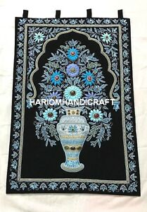 3'x2' Wedding Indian Tapestry Zardozi Wall Hanging Hand Embroidered Decor M050
