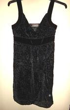 JACQUIE E BLACK EMBOSSED CHIFFON & VELVET TEXTURED DRESS LADIES SIZE 10-12 BNWT