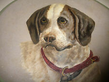 """LARGE 14"""" ANTIQUE 1800`s FOLK ART HAND PAINTED DOG PAPER MACHE PAINTING PLATE"""
