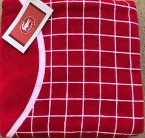 NWT Lacoste Logo Beach Pool Towel Red Logo  36 x 72 100% Cotton NEW