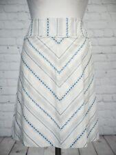 Next Skirt Size 12 Ivory Grey Blue Floral Stripe Cotton A Line Boho