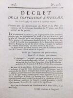 Rare Décret 1793 signé Pertuisot Yonne Côte d'or Nord Pas de Calais Révolution