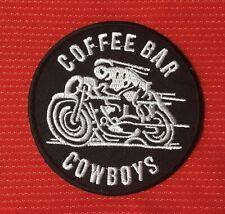 COFFEE BAR COWBOYS ACE CAFE RACER TT BIKE BIKER BSA AJS BADGE IRON SEW ON PATCH