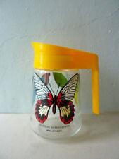 pichet en verre, décor de papillons, VMC Reims, vintage des années 80