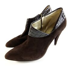"""GUESS Booties Brown Leather Suede 4"""" Heels Size 9.5"""
