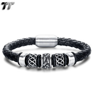 TT Leather 316L S.Steel Magnet Buckle Skull Bead Bracelet Wristband (BR186)