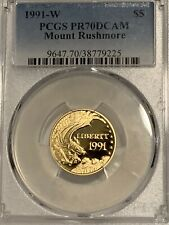 1991-W $5 Mount Rushmore Gold Commemorative Coin PCGSPR70DCAM