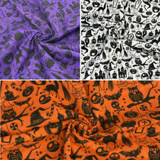 Polycotton Fabric Halloween Spooky Ghosts Pumpkins Cats Bats