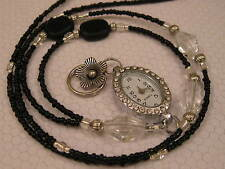 CRYSTAL BLACK LANYARD NECKLACE HANDMADE BEADED ID BADGE HOLDER  WITH WATCH
