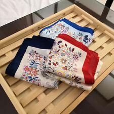 Women Vintage Flower Print Scarf 100% Pure Mulberry Silk Handbag Turban 53*53cm