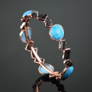New Arrival Natural Turquoise & Tourmaline Bangle Bracelet Woman Fashion Jewelry