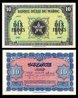 Morocco  / MAROC  BANQUE D'ETAT DU MAROC  P-25a   10 Francs   1943  UNC / ***