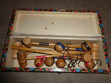 Antique Miniature Wooden Carpet Croquet Set Multi Coloured Box 6 player very old