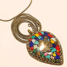 """Gold Plated Tibetan Pendant Chain 17-18"""" Blue Turquoise With Multi Cut Stone"""
