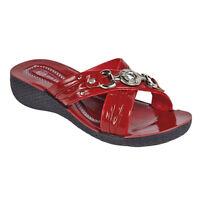 Womens Ladies Wedge Heel Cross Strap Slip On Summer Sandals Mules Sheos Size 3-8