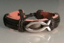 Christian Bracelet HEMATITE ICHTHUS FISH Black Leather w Black Accent Trim NEW!