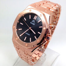 524Q Men's Celebrity Style Wrist Watch Rose Gold Strap Luxury Black Dial Quartz
