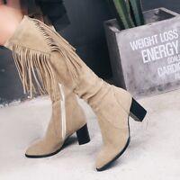 UK Women Block High Heel Thigh High Boots Plus Size Casual Tassel Knee High Boot