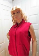 Women's Vest Rafaella Red FLeece Button Down Front Pockets Collared Size L