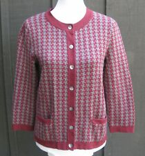 Lands End Sweater Sz S 6 /8 Maroon Gray Check Cardigan Cotton Knit Small Womens