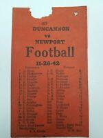 DUNCANNON VS NEWPORT HIGH SCHOOL PENNSYLVANIA FOOTBALL 11-26-1942 TEAM ROSTERS