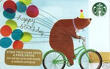 "Starbucks Limited Edition Holiday Gift Card ""Bear Happy Birthday"" 2015 Mint"