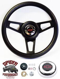 "1974-1994 Chevy Pickup Suburban steering wheel RED BOWTIE 13 3/4"" BLACK SPOKE"