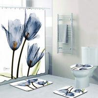 Tulips Lavender Bathroom Shower Curtain Pedestal Rug Toilet Cover Mat Set 4pcs