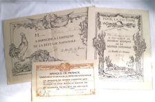 3 DIPLOMES DE SOUSCRIPTION EMPRUNT DE LA DEFENSE NATIONALE 1915/1916