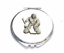 Ice Hockey Player Goalie Compact Mirror Ladies Gift FREE ENGRAVING