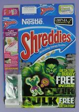 Incredible Hulk Shreddies Cereal Box & Desk Top Buddy Toy,  2004