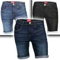 Men's Denim Shorts Slim Fit Stretch Chino Flat Front Jeans Half Pants
