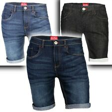Men's Denim Shorts Slim Fit Stretch Chino Flat Front Jeans Half Pants