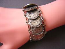 Vintage Münz-/Trachtenarmband/Armband Münzen versilbert M.Theresia 43,4 g/18 cm