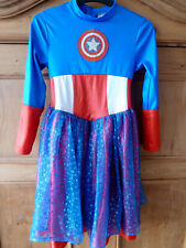 Marvel Universe American Captain Dream Girl Fancy Dress Outfit Costume 9-10 year