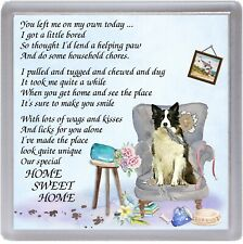 "Border Collie Dog Coaster ""HOME SWEET HOME Poem ....."" Novelty Gift by Starprint"