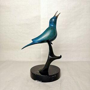 """Blaine Black 9"""" Bronze Sculpture of Blue Bird """"Song Bird"""" 2/50 1988"""