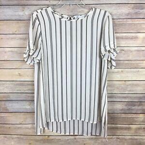 DR2 Daniel Rainn Women's Blouse Large White Black Brown Striped Short Sleeve