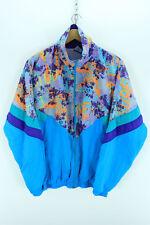 Vintage 80s Men's Oversized Tracksuit Jacket, Size M Blue Shell Tracktop EF1203