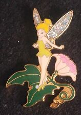 2000 DISNEYLAND TINK/TINKER BELL ON LEAF OF FLOWER PIN, GLITTER WINGS