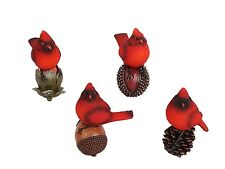 Attraction Design Resin Cardinal Figurines on Nuts Wall Shelf Sitter Set of 4
