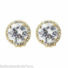 Round Gold Tone Clip On Earrings with Cubic Zirconia